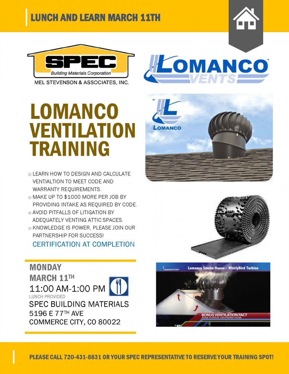 Lomanco Ventilation Training Denver Spec Building