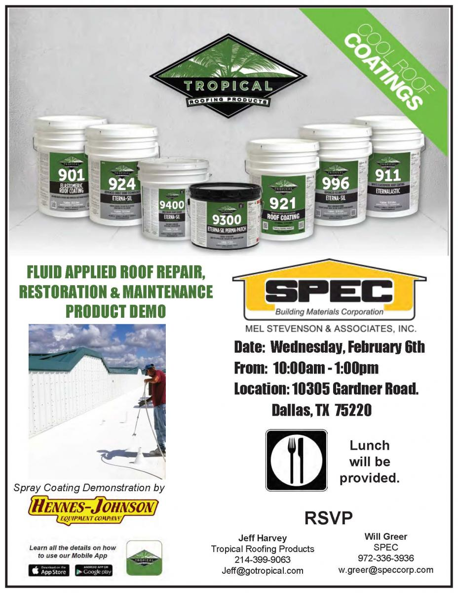 Tropical Roofing Products Demo Dallas Tx Spec Building